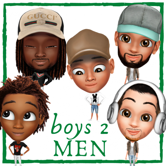 Multicultural clipart images of young men wearing various outfits.