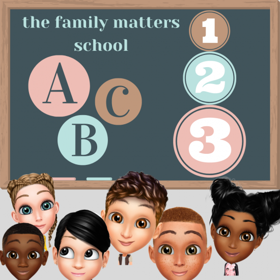 Cartoon images of children in front of a chalk board. On the chalk board are images of the numbers 1, 2, and 3 as well as the letters a, b, and c.